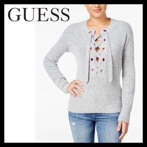 GUESS ALENA LACE-UP SWEATER